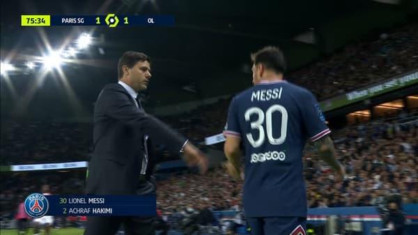 Lionel Messi à sa sortie pendant PSG-OL
