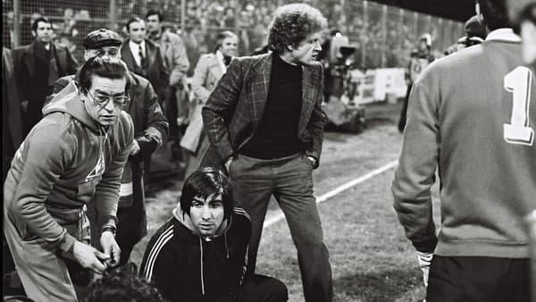 Robert Herbin lors du match ASSE-Kiev, le 17 mars 1976