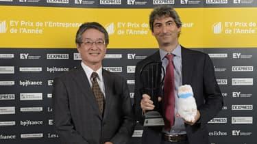 Scality est dirigée par Jérôme Lecat (à droite sur la photo, recevant en 2015, le prix de la start-up de l'année)
