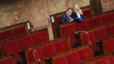 Le député du Gard Gilbert Collard, allié au Front National, et la députée FN du Vaucluse Marion Maréchal Le Pen à l'Assemblée nationale à Paris, le 24 Juin 2015.