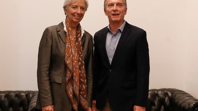 La directrice générale du FMI, Christine Lagarde et le président argentin, Mauricio Macri.