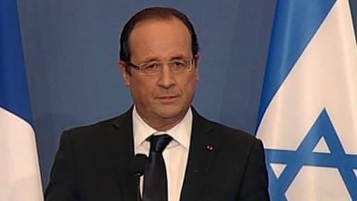 Le président François Hollande lors d'un hommage a victimes de Mohammed Merah, le 1er novembre 2012, à Toulouse