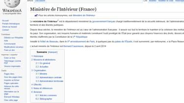 La page Wikipedia du ministère de l'Intérieur (illustration)