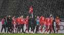 Les joueurs de Cologne après le derby contre Monchengladbach