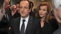 """François Hollande et Valérie Trierweiler, à Tulle. Le président a présenté samedi aux Corréziens des voeux emprunts de gravité dans une période """"très difficile"""" marquée par l'intervention de l'armée française au Mali et le dénouement sanglant d'une prise"""