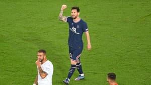 Lionel Messi après son but contre Manchester City