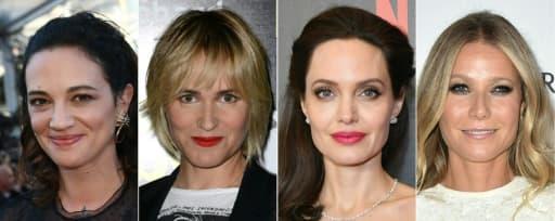 Photo d'archive des actrices Asia Argento, Judith Godreche, Angelina Jolie et Gwyneth Paltrow, qui se sont dites victimes de harcèlement sexuel de la part du producteur Harvey Weinstein