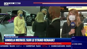 Angela Merkel sur le stand Renault