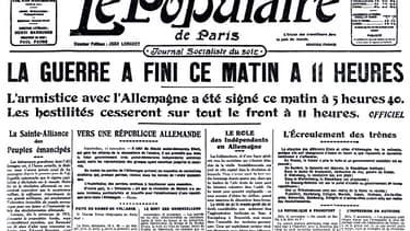 LA Une du Populaire de Paris du 12 novembre 1918