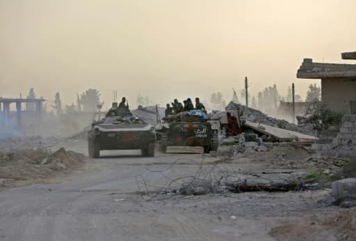 Des chars des forces armées syriennes lors de leur avancée dans la Ghouta orientale, le 4 mars 2018