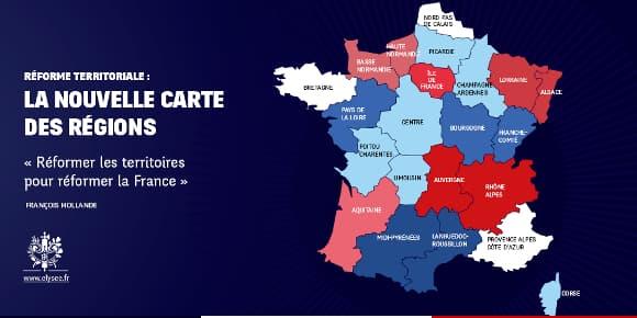 L'Elysée a diffusé cette carte de France avec les possibles 14 futures régions.