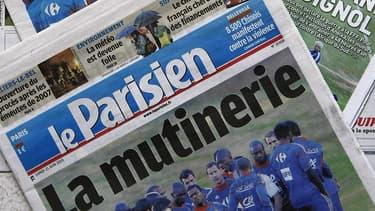 La Une du Parisien après le naufrage de l'Equipe de France lors de la Coupe du Monde 2010