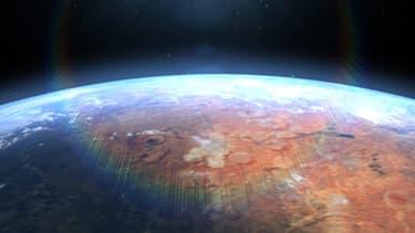 Vue d'artiste de la planète Mars retrouvant de l'eau liquide à sa surface.