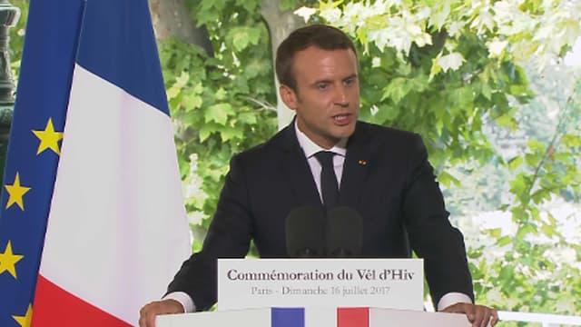 Emmanuel Macron lors de la commémoration des 75 ans de la rafle du Vel d'Hiv, le 16 juillet 2017 à Paris.