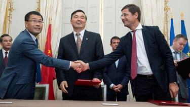 Nicolas Dufourcq (BPI) et Haibin Fan (China Development Bank) lors du lancement du fonds
