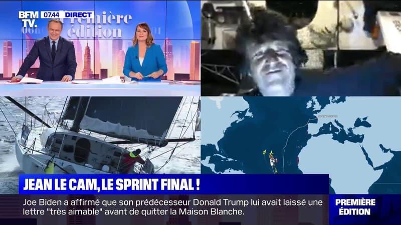 En 8e position dans la course du Vendée Globe, Jean Le Cam était en direct sur BFMTV