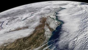 Image satellite de la vague de froid qui touche le Sud-Est des Etats-Unis.