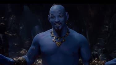 """Will Smith dans la peau (bleue) du génie de la lampe, dans """"Aladdin""""."""