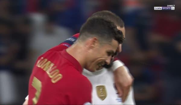 Ronaldo et Benzema à la mitemps de Portugal-France