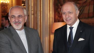 Le ministre des Affaires étrangères Laurent Fabius a rencontré son homologue iranien, Zavad Jarif, au Quai d'Orsay le 5 novembre 2013.