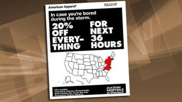"""Des milliers de clients ont reçu avec stupeur ce mail de diffusion pour des soldes """"spécial Sandy""""."""