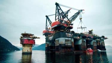 Une plateforme pétrolière, au large de la Norvège.