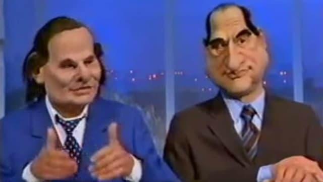 Les marionnettes d'Alain de Greef et Pierre Lescure, dans les Guignols, en 1999.