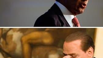 La rivalité entre Silvio Berlusconi (en bas) et Gianfranco Fini (en haut) atteint de nouveaux sommets en Italie alors que pleuvent des accusations de calomnies, de mensonges et de coups tordus à l'approche du vote de confiance, la semaine prochaine, au Pa