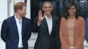 Le prince Harry avec le couple Obama, à Londres le 22 avril 2016.