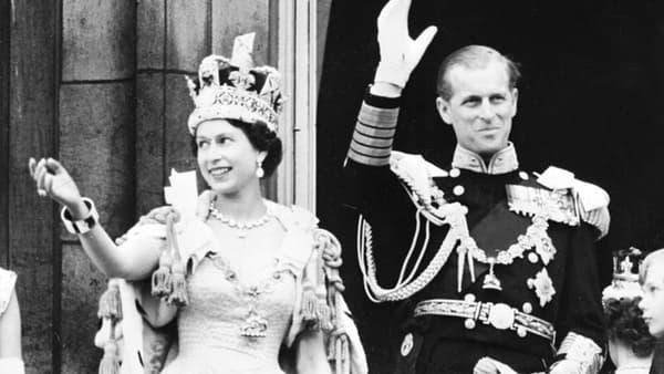 La reine et Philip au moment du couronnement.