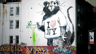 Un rat new-yorkais vu par l'artiste Bansky, à Manhattan.