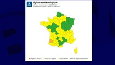 La carte de vigilance de Météo France ce vendredi.