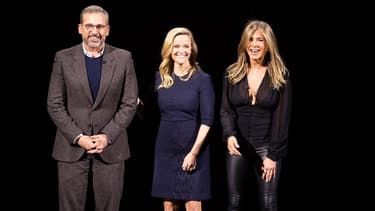 """Les acteurs Steve Carell, Reese Witherspoon and Jennifer Aniston présents lors de la Keynote. Ils seront à l'affiche de """"The Morning Show"""", série produite en exclusivité pour Apple."""