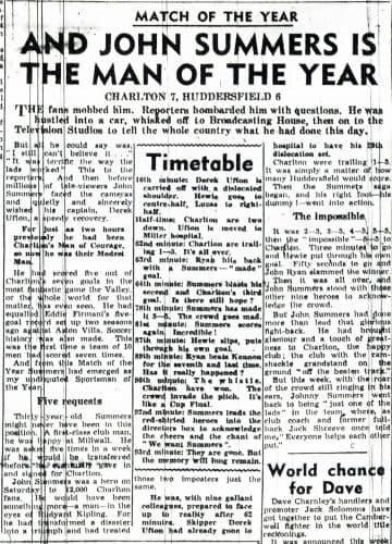 Un compte-rendu du match historique Charlton-Huddersfield en décembre 1957