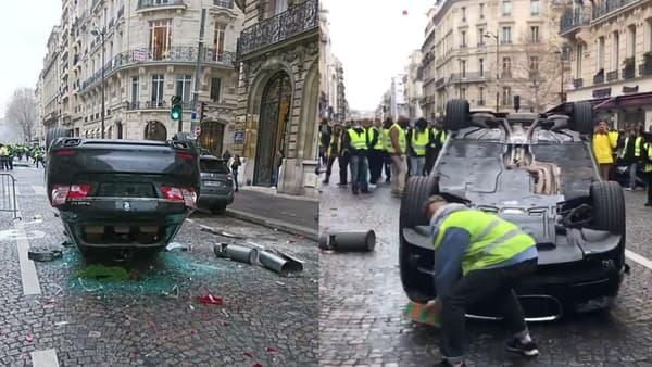 A gauche, la BMW sans plaque. A droite, un gilet jaune qui arrache la plaque.