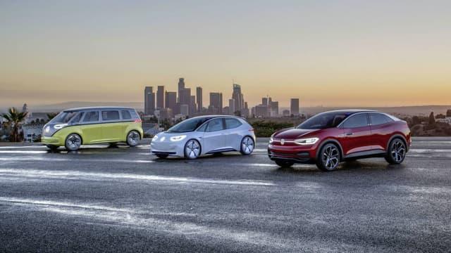 Les trois principaux concepts électriques présentés par Volkswagen ces dernières années, dont l'ID dévoilé à Paris en 2016.