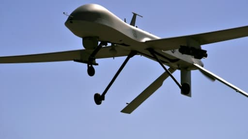 Un drone américain (MQ-1B Predator), en vol d'entraînement le 21 octobre 2015 au Nevada
