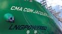 """Le porte-conteneurs """"CMA CGM Jacques Saadé"""" est le premier d'une série de neufs navires d'une capacité de 23.000 containers équivalent vingt pieds (EVP)."""