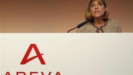 La présidente du directoire d'Areva, Anne Lauvergeon. Le groupe français a signé deux contrats, un accord-cadre et un accord de travaux préliminaires, pour fournir des réacteurs nucléaires de type EPR à l'Inde, en marge de la visite de Nicolas Sarkozy dan
