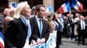 Marine Le Pen et Florian Philippot, lors du défilé du 1er mai du Front national, en 2013.
