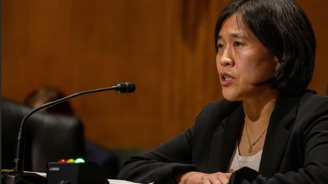 La représentante américaine au Commerce Katherine Tai, lors de son audition au Sénat, à Washington le 25 février 2021