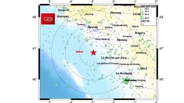 Un séisme de magnitude 3,9 sur l'échelle de Richter s'est produit à 72 km au large de Saint-Nazaire.