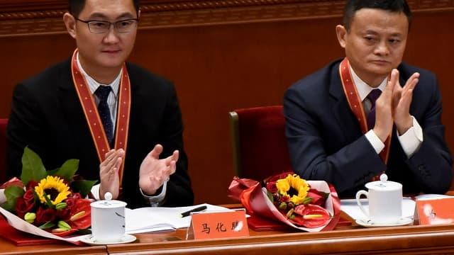Jack Ma, fondateur d'Alibaba, et Ma Huateng, alias Pony Ma, PDG de Tencent, sont les bons élèves de l'économie chinoise. Ils étaient les invités d'honneur du président Xi Jiping pour le 40e anniversaire de la politique de réforme et d'ouverture en décembre dernier à Pékin.