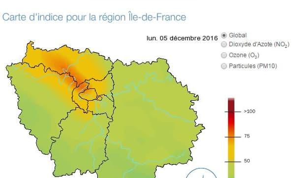La carte d'indice de pollution pour l'Île-de-France du lundi 5 décembre 2016.