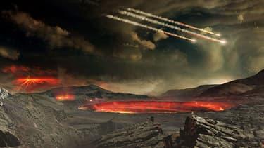 """Les premières """"heures"""" de la Terre, sous les bombardements de météorites."""