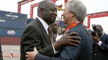 Vincent Bolloré avec le président ivoirien Laurent Gbagbo à Abidjan en 2008
