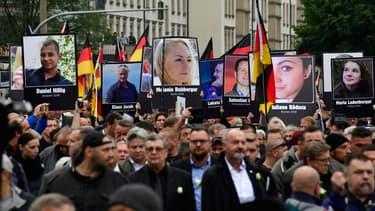 Manifestation anti-étrangers organisée à Chemnitz, en Allemagne, par le parti d'extrême-droite AfD, le 1er septembre 2018