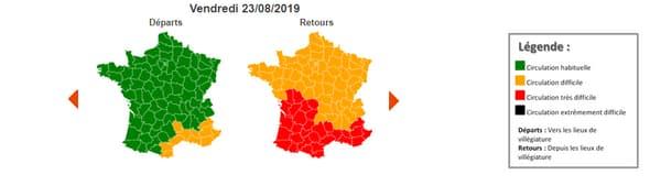 Vendredi 23 août, la journée est classée rouge dans le Sud et orange sur la moitié nord.