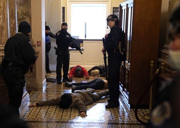 Des manifestants arrêtés et allongés au sol à l'extérieur de la chambre des représentants.