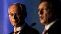 Le président du Conseil européen Herman Van Rompuy aux côtés du président de la Commission européenne Jose Manuel Barroso, à Los Cabos, à l'occasion de la réunion du G20 au Mexique. Selon le projet de communiqué final lu à Reuters par une source du G20, l